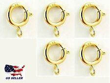 New 5mm 14K Yellow Gold Spring Ring Clasp w/ open ring attachment 5 pack