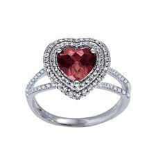 Natural Pink  Rubellite Tourmaline & Diamond Heart Shape 2 halo 18k White Ring