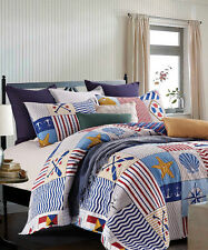 ANCHORS AWAY Full Queen QUILT SET : NAUTICAL BEACH HOUSE SEA SHELLS BOAT BEDDING