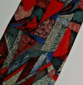 Red Blue Abstract Silk Tie