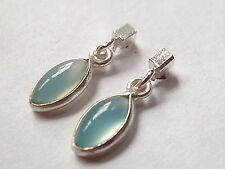 Chalcedony and Rectangle 925 Sterling Silver Stud Earrings Corona Sun Jewelry