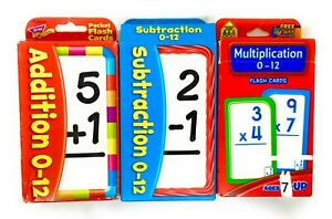 Lot 3 Educational Flash Cards Math Add Subtract Multiply Homeschool Elementary