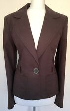 Next Brown Linen Jacket Lined Washable Size 14