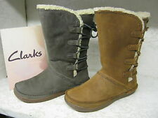 Clarks Mid-Calf Pull on 100% Leather Women's Boots