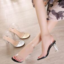 Ladies Transparent High Block Heels Wedding Sandals Open Toes Ankle Strappy