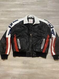 Vintage Michael Hoban Full Zip Heavy Genuine Leather Jacket USA Mens Size L