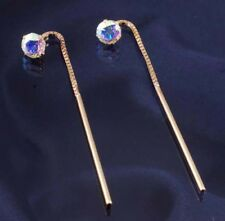 9ct Gold 5mm Rainbow Cubic Zirconia Pull Through Earrings.