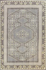 GRAY 8x11 Geometric Traditional Oushak Vintage Style Area Rug Hand-knotted Wool