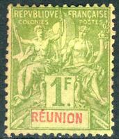 Reunion 1892 French Colony 1 Franc Bronze Green Mint Z697