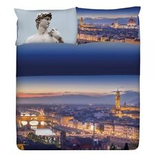 Set Lenzuola Copriletto Matrimoniale Planet City Firenze Ponte Vecchio Palazzo