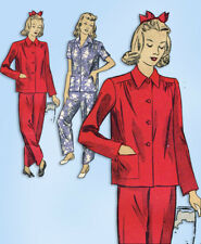1940s Original Vintage Du Barry Pattern 5538 Easy WWII Plus Size Pajamas 40 Bust