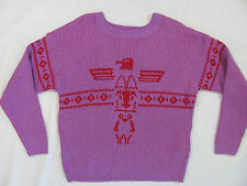 Levi's Knitted Eagle Aztec Sweater -Lilac & Red-Cotton Blend-Size Large- NWT $78