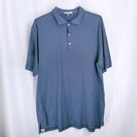 Peter Millar Mens Striped Polo Short Sleeve Shirt Navy Blue Size XL