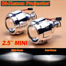 "Pair 2.5"" Mini Bi-Xenon HID Projector Kit Lens Car Hi/Lo Headlights Shroud Gift"