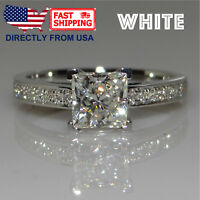 Women's White Gold Plated Princess Cut Cubic Zirconia Engagement Ring