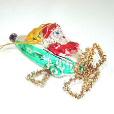Santa in Airplane West Germany Glass Christmas Ornament