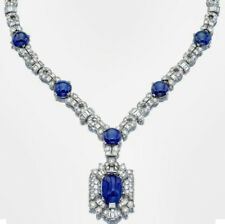 19Ct Round Cabochon Blue Sapphire Simulnt Diamond Necklace Silver White Gold Fns