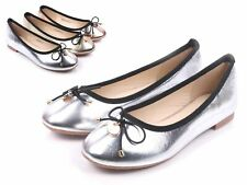 Silver Slip-on Only Round Toe Preschool Youth Girls Ballet Flats Kids Size 11