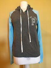 Victoria's Secret Pink Full Zip Hooded Sweatshirt Gray & Blue Sleeves EUC HTF M
