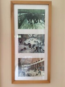"""Framed Minature """" Norman Cornish"""" Picture (3 in one frame) Copies"""