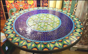 Traditional Marble Table Top Malachite & Lapis Mosaic Stone Inlay Decors H3937