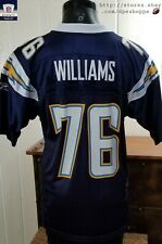 NFL San Diego Chargers Football WILLIAMS #76 Blue Reebok Rbk Adult Mesh Jersey S