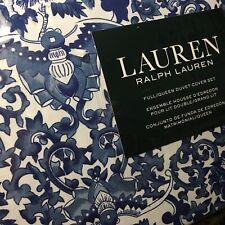Ralph Lauren Porcelain Blue Tamarind Bird Queen Duvet 3pc Set Chinoiserie Toile