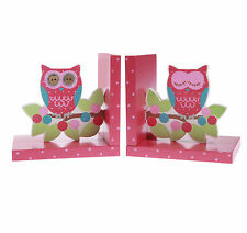 OWL BOOKENDS PINK WOOD GIRLS CHILDRENS BEDROOM SHELF DECORATION BY SASS & BELLE