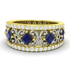 Natural 1.40Ct Blue Sapphire 14K Yellow Gold Diamond Ring Eternity Band Size 7 6