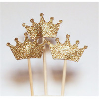 24PCS/pack Gold Glitter Crown Cupcake Toppers Wedding Picks Party BABY SHOWER
