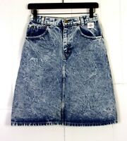 vtg 80s Essentials Sport women's Blue/Gray Acid Wash Denim Skirt GRUNGE sz 8