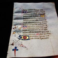 1420 rara Pergamena Medievale, Libro d'Ore, raro foglio Miniato in Latino...X05
