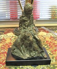 Vintage Signed Bronze Sculpture / Figure - Boy & Dog - Lorenzo