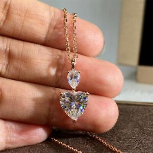 Women Elegant Heart 925 Silver Necklaces Pendants Cubic Zirconia Wedding Jewelry