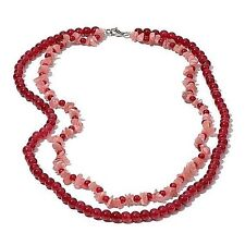 """Rhodonite w/Red Ruby Quartzite 20"""" Necklace in Silvertone/Stainless Steel Clasp"""