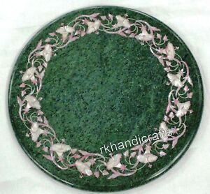 12 Inch Green Marble Corner Table Top Stone Side Table with Inlay Art at Border