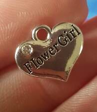 50 pcs flower girl heart charms silver favours wholesale UK seller free delivery