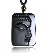 natural Obsidian stone carved black buddha charm pendant necklace Y06