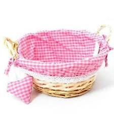 23cm Round Gingham Cloth Lined Eared Wicker Basket With Heart-pink Girl Gift