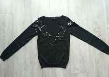 Pull noir sequins col V H&M taille Xs , tbe !