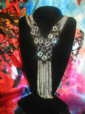 stones long elegant women's necklace set Simply Vera Wang Nwt $70 pewter clear