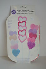 NEW WILTON 4 Cavity Silicone MOLDS HEART Mold Candy Bake FREEZE Oven Safe Wash