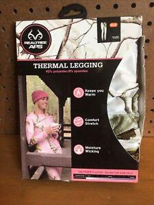 NWT REALTREE APC Women's Sz Medium Thermal White Camoflauge Legging #17