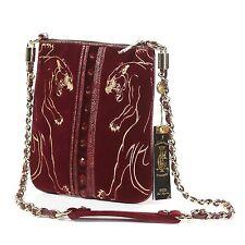Christian Audigier Cross Body Handbag Panther , Burgundy Soft velvety feel