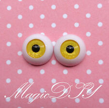 12mm Hand Made BJD Doll Eyes Shining Yellow Acrylic Half Ball