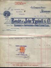 More details for 1928 london, john tyndall & co. ceylon tea grower, 7 rangoon st. lovely billhead