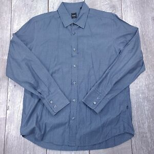 Hugo Boss Fitted Button Up Shirt Mens Large Gray Diamond Plate Long Sleeve LB228