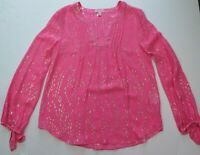 Women Lilly Pulitzer Colby Silk Pink Gold Metallic Dot Blouse Top Size Small EUC