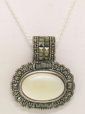 "Marcasite Solid .925 Sterling Silver Oval Mother of Pearl MoP Pendant 18"" Chain"