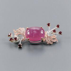 Ruby Brooch Silver 925 Sterling Sale Jewelry Design /NB08848